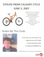 "Stolen V-10: ""Team Yellow"" from Calgary Cycle"