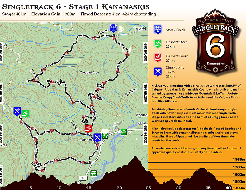 Stage 1 map of the 2014 Singletrack 6.