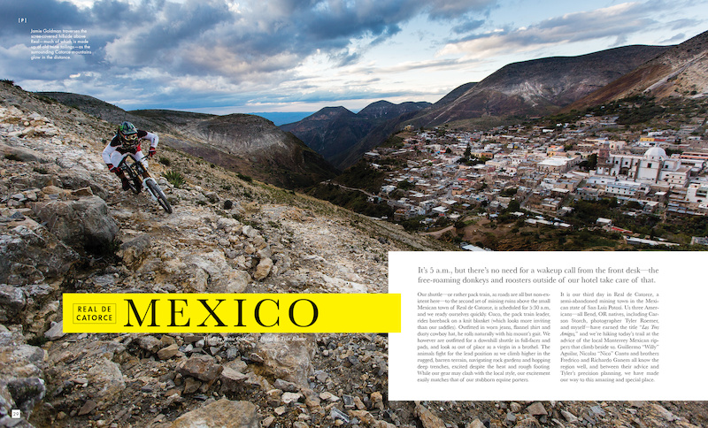 Caption: Jamie Goldman traverses the scree-covered hillside above Real as the surrounding Catorce mountains glow in the distance. Photo: Tyler Roemer