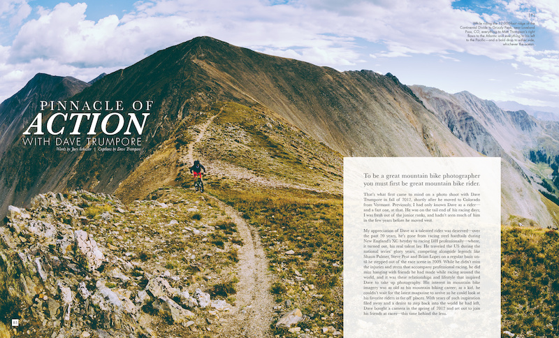 Caption: While riding the 12,000 foot ridge of the Continental Divide to Grizzly Peak, near Loveland Pass, CO, everything to Matt Thompsons right flows to the Atlantic and everything to his left to the Pacific, and a bold drop to either side, whichever the ocean. Photo: Dave Trumpore