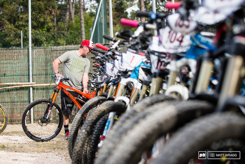 Race director Franco Monchiero was personally checking all the bikes into the parc ferme this evening where they will be locked away until tomorrow morning.