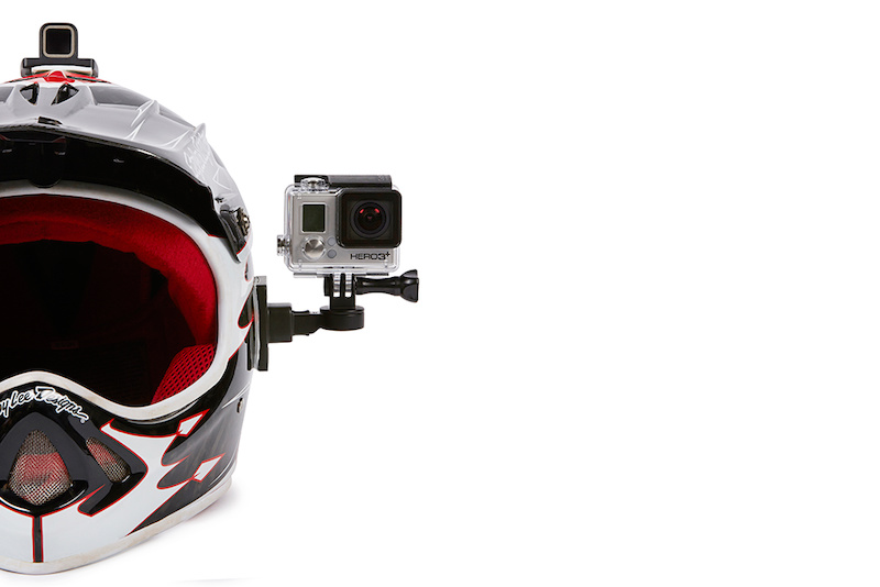 Helmet mounts and GoPro camera arm.
