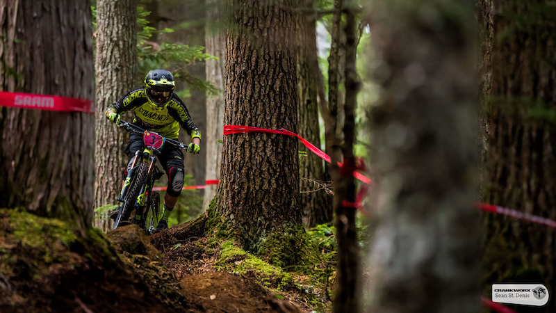 Cecile Ravanel on the first stage of the SRAM Canadian Open Enduro Presented by Specialized. In Whistler British Columbia Sean St.Denis