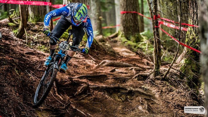 Josh Carlson on the first stage of the SRAM Canadian Open Enduro Presented by Specialized. In Whistler British Columbia Sean St.Denis