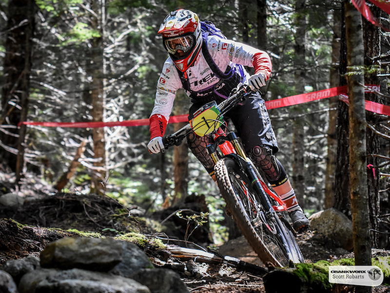 Tracey Mosely of Great Britain descends stage three of the SRAM Canadian Open Enduro Crankworx Whistler 2015. Photo By Scott Robarts .