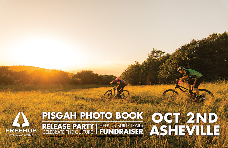 Freehub Magazine Pisgah Photo Book Release Party 7-10pm Friday October 2nd at the Smoky Park Supper Club in Asheville NC. Live music games beer foor and prizes Sponsored by New Belgium Trail Forks Industry Nine Cane Creek and Transition Bikes