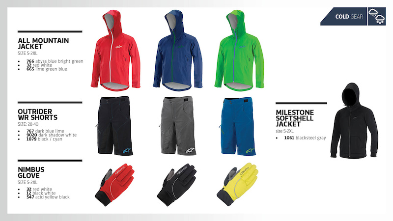 ALPINESTARS LAUNCHES 2015 FALL CYCLING COLLECTION All Mountain Jacket MSRP 199 95 199 95 Outrider Shorts MSRP 129 95 119 95 Milestone Jacket MSRP 129 95 119 95 Nimbus Glove MSRP 54 95 54 95