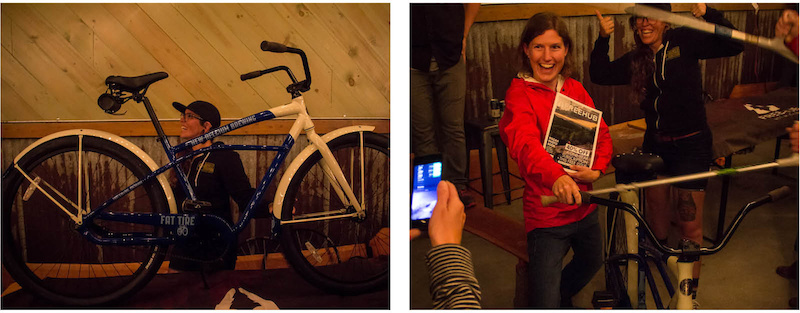 With hundreds of raffle ticket sold odds were slim but this lucky lady was the proud owner of a new New Belgium cruiser at the end of the night.