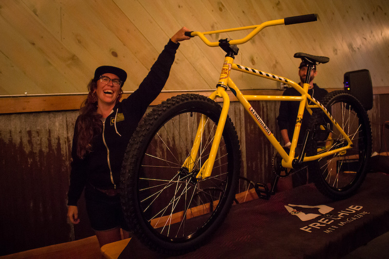 Jen Stampley getting stoked to give away the Transition Klunker