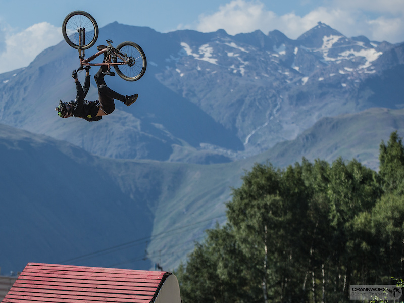 Brett Rheeder of Canada on the Slopestyle course at Crankworx Les Deux Alpes in France Photo by clint trahan crankworx