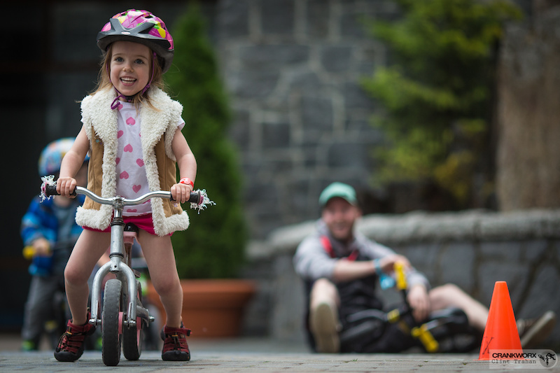 Blossom age 3 at the Kidsworx Run Bike Race during Crankworx in Whistler British Columbia Photo by clint trahan crankworx