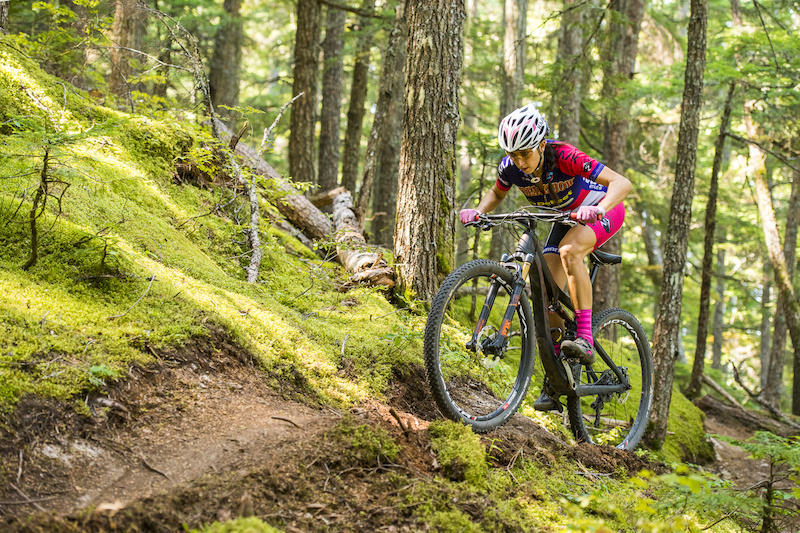 Sonya Looney aboard the Pivot Mach 429 SL on the Hey Bud trail in Whistler Valley. Sonya will be in Rotorua to defend her WEMBO 24 Hour Solo World Champs weekend 2 of the Festival. Photo Colin Meagher