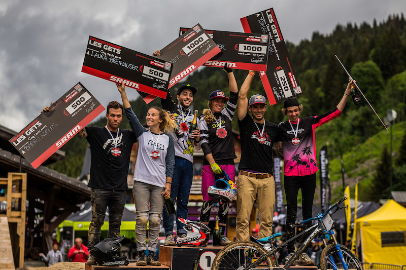 Barry Nobles USA - Men s 2nd Laura Brethauer GER - Women s 2nd Chaney Guennet FRA Men s 1st Jill Kintner USA Women s 1st Tomas Slavik FRA Men s 3rd Geraldine Fink SUI Women s 3rd Les Gets Pump Track presented by RockShox. Photo by Sean St. Denis