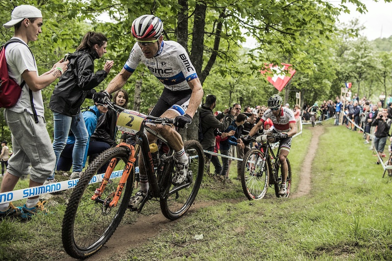 Julien Absalon Nino Schurter perform at the UCI XCO World Tour in La Bresse France on May 29th 2016 Bartek Wolinski Red Bull Content Pool