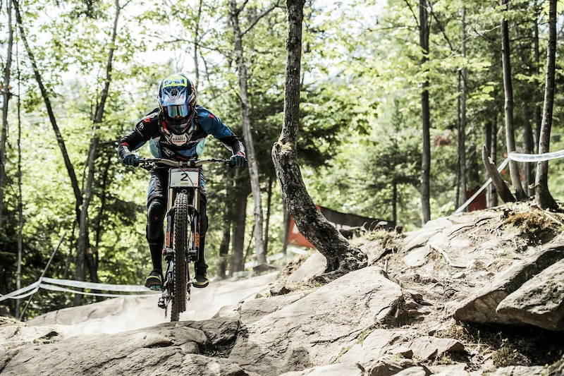 Danny Hart performs at the UCI DH World Tour in Mont Saint Anne Canada on August 6th 2016 Bartek Wolinski Red Bull Content Pool