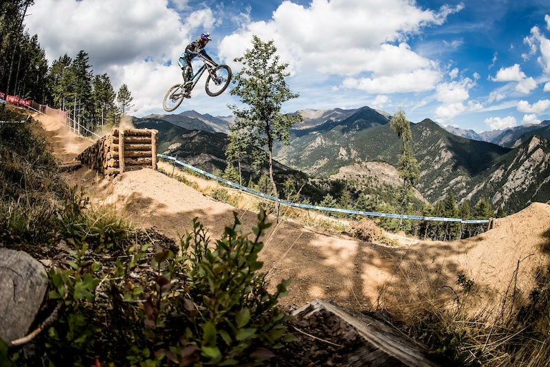 Danny Hart performs during the UCI DH World Tour in Vallnord Andorra 1 September 2016 Nathan Hughes Red Bull Content Pool