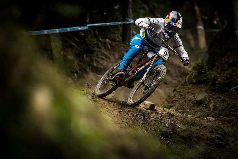 Loic Bruni performs during the UCI DH World Tour in Vallnord Andorra 3 September 2016 Nathan Hughes Red Bull Content Pool