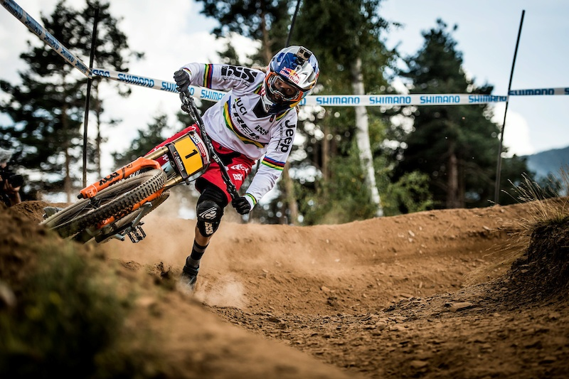 Rachel Atherton performs during the UCI DH World Tour in Vallnord Andorra 1 September 2016 Nathan Hughes Red Bull Content Pool