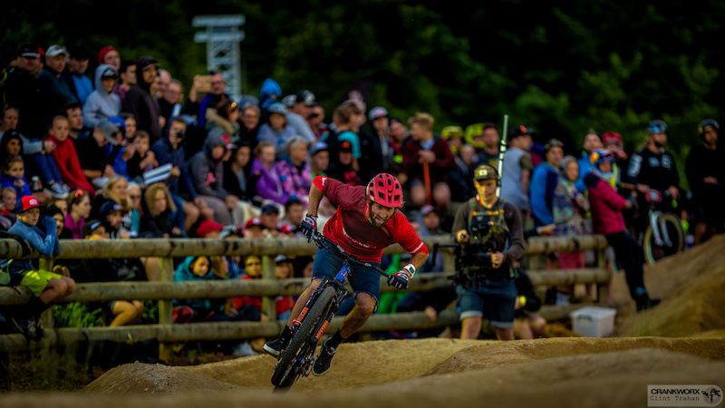Adrien Loron vs Mickey Haderer at the Rotorua Pump Track Challenge presented by RockShox during Crankworx in Rotorua New Zealand. Photo by Clint Trahan Crankworx