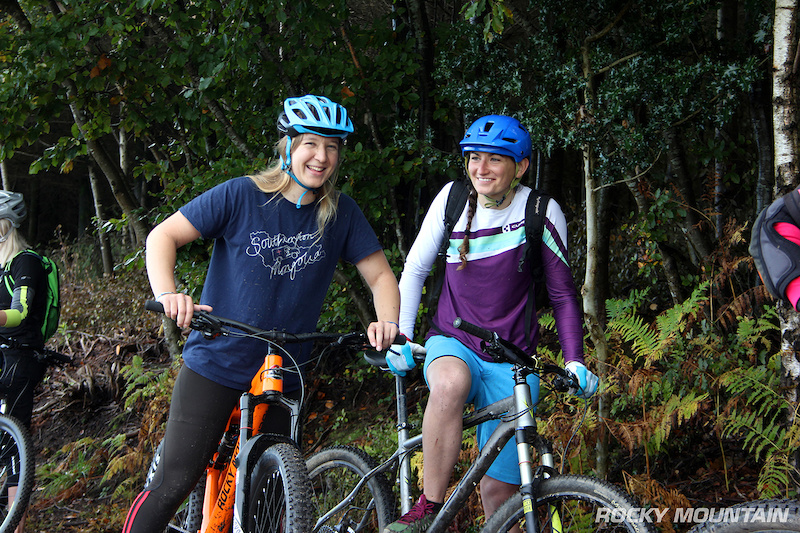 Southern Ladies MTB rider Charlotte Stokes pictured left hits the Haldon trails testing out the new 2017 Rocky Mountain Pipeline 750 MSL.