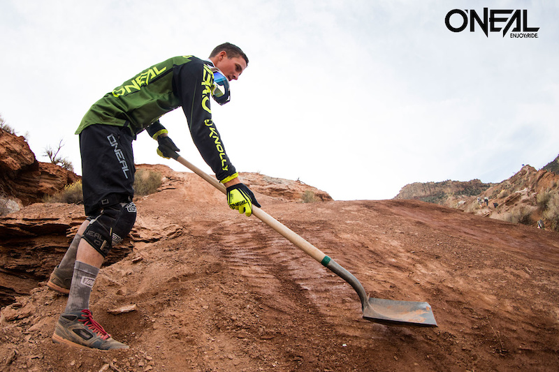 All Mountain Boss and O Neal team rider James Doerfing shaping the landing at Red Bull Rampage.