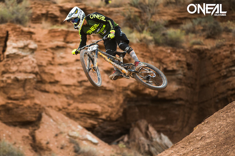 All Mountain Boss and O Neal team rider James Doerfing showed his signature carving style at the Red Bull Rampage.