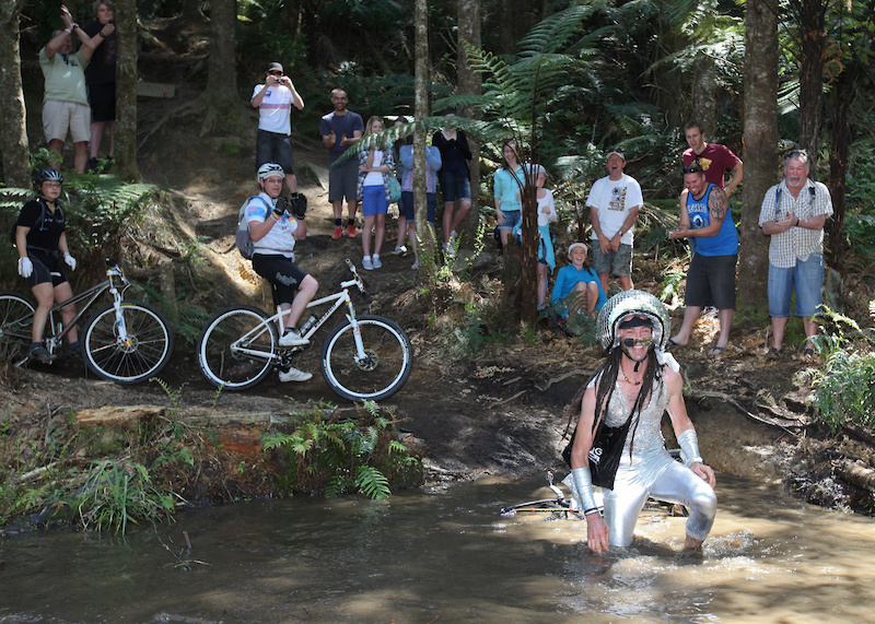 The infamous water crossing on Rosebank Singlespeed World Champs 2010. Crowd favourite spot.