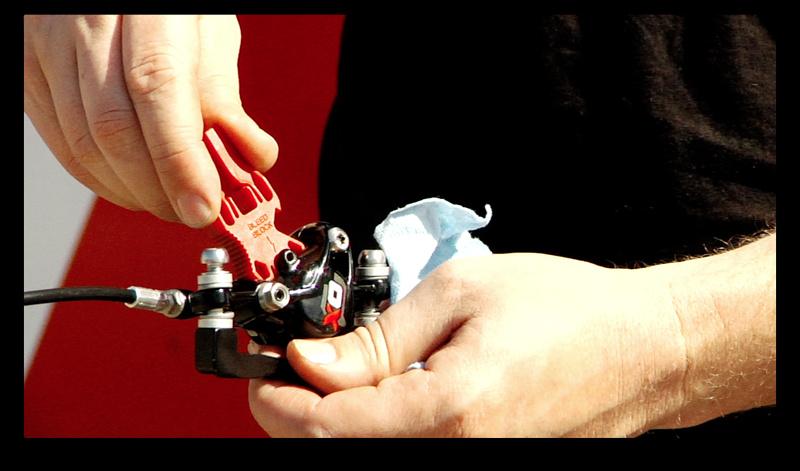 How to bleed SRAM brakes - bleed block installation.