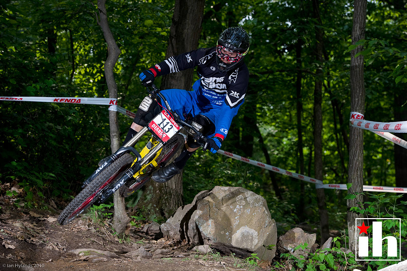 Bryn flatted today and didn't qualify, but if this photo early on the course is any indication he was going for it. Way leaned over in the berm, 2 feet above it!