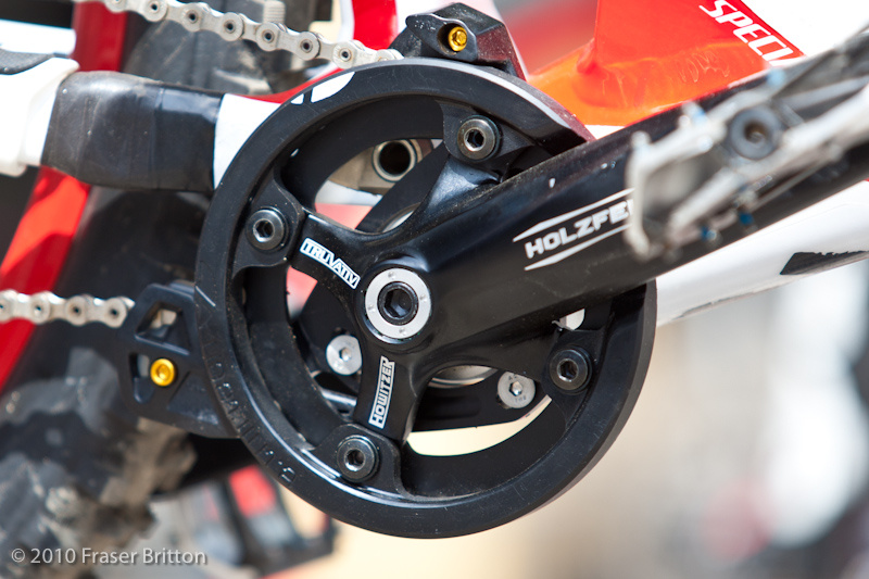The reason for Hill's nine-tooth cassette was to use a smaller, 30-tooth chainring without affecting Hill's overall gear ratios--a ploy by Specialized to raise the chain guide out of harm's way.