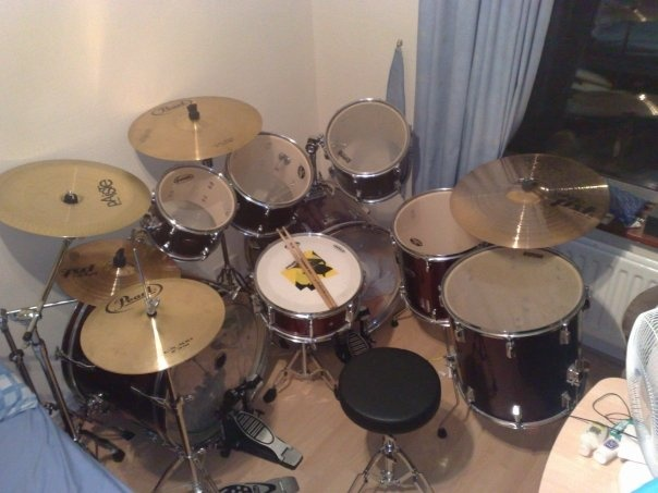 Pearl Export Forum Double Bass Drum Kit With Cymbals For Sale