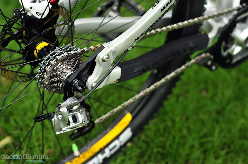 Bolt on dropouts allow the bike to accept a multitude of different axles: Maxle in both 135mm and 142mm spacing, standard vertical QR and also horizontal should you wish to set it up as a singlespeed.  Meanwhile, up front, there is a 66 degree head angle with a 75 degree seat angle in the middle to help keep weight over the front wheel when climbing, sometimes the achilles heel of longer travel bikes.  Available very soon, the colours will be the awesome raw featured here, Nukeproof yellow or black.