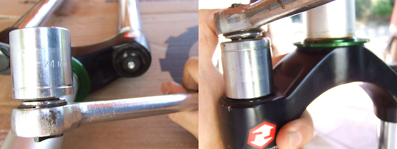 <span style='font-size:20px'>Step 7.</span> Loosen the damper side top cap with the 24mm socket wrench.