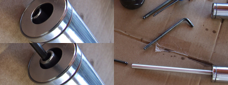 <span style='font-size:20px'>Step 12.</span> Pull the dummy rod to full extension through the bottom of the stanchion tube. If you're having trouble aligning the rod with with the hole, you can use your 2mm hex key to help locate it.