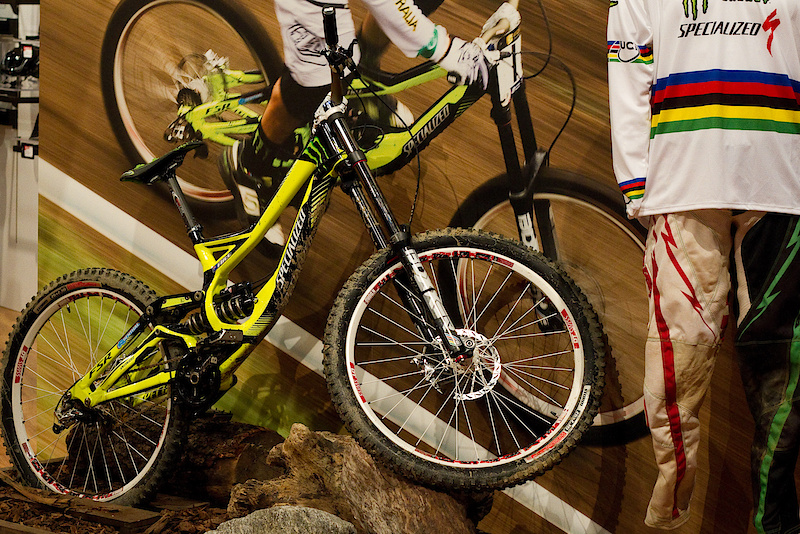 Like every other mountain bike website covering Interbike 2010, I thought I better include a photo of Sam Hill's World Champ's bike. I heard he did pretty well there...