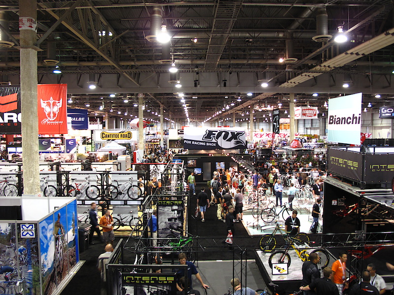 After the beating he received from riding that unicycle, Aaron was eager to please and shimmied 30 feet up a post in order to get this shot. You're looking at only about 1/8th of the inside of the Sands Convention Center, which is why you can look forward to at least a few more Interbike updates until the wells run dry.