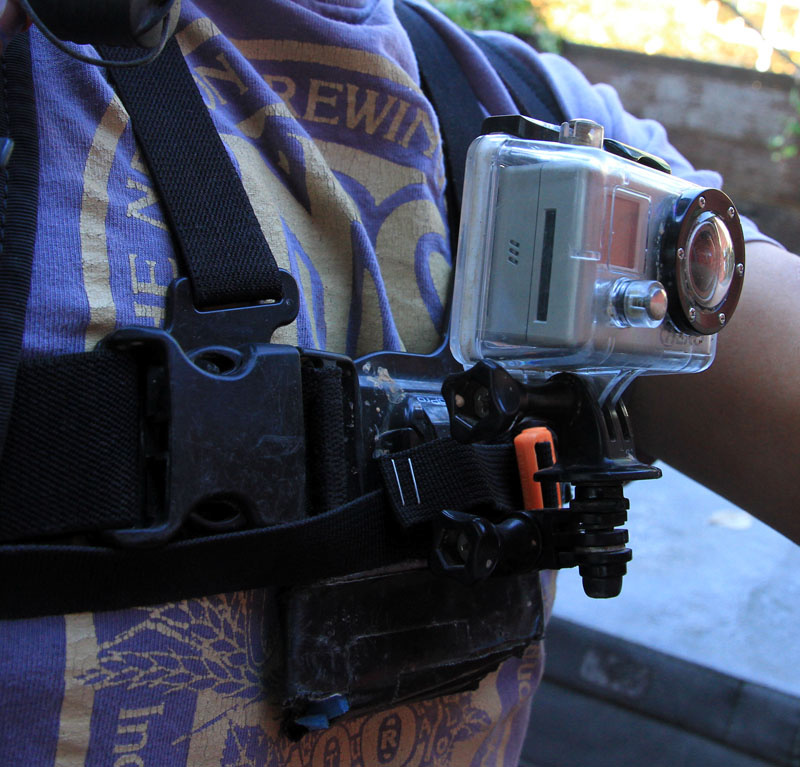 I tilted the camera a bit to show the sternum strap position; note that it goes over the GoPro chest mount plate.  Tightening the strap secures the chest mount which helps a ton with video quality.