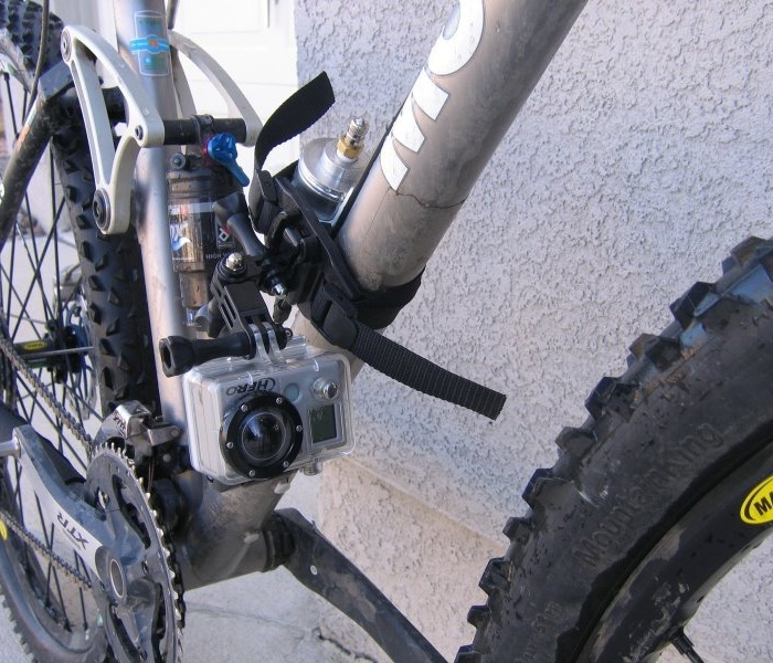 Using the Vented Helmet Mount and some miscellaneous GoPro bits from their Grab Bag of mounts gives you various frame mounting options - picture from Gramslightbikes