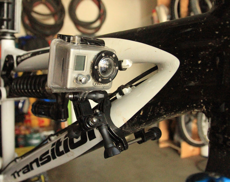 This mount is the Roll Bar Mount.  Realistically it can only be used on open trails; in tight trails you'll hit the camera with the handlebar.  It'll only worked with bikes with top tubes that let you push the GoPro forward enough that your knees won't hit the camera.  Of course, don't tighten the mount too much so if you do hit something you won't shatter the plastic mounts