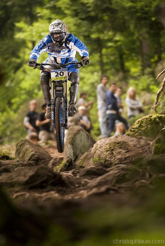 Jan Berkenkopf on the rocky trail in Bad Wildbad, Germany's hardest DH track