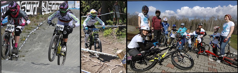 Steffi racing 4X and DH at iXS Dirtmasters Winterberg, and teaching at Girl's Camp Plessa