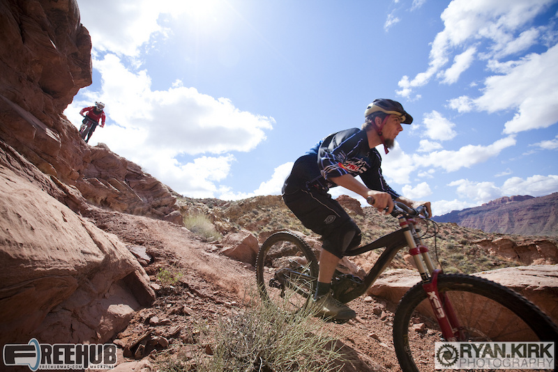 Aaron Braggs and Brandon Watts leading into the jump line outside Moab, UT.