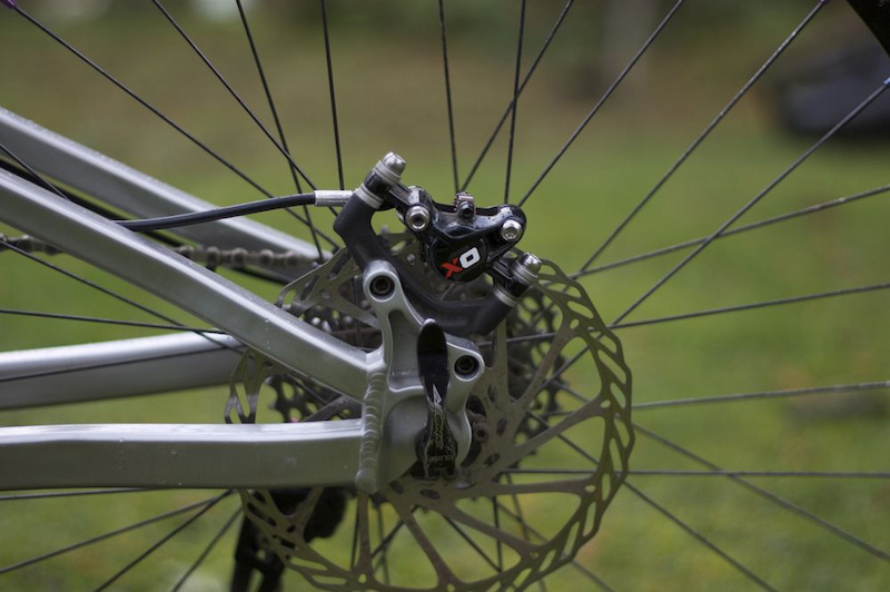 The minimalist calipers do a great job of stopping the bike and are easy to work with, whether you're replacing the top-loading pads or bleeding the system during regular maintenance.
