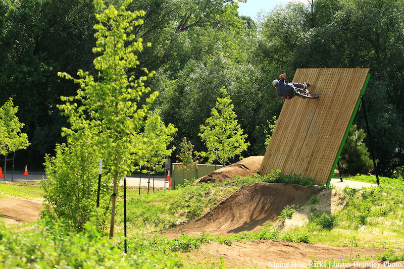 Opening day at the Valmont Bike Park. Cob getting to the top of the wall at the bottom of the XL line