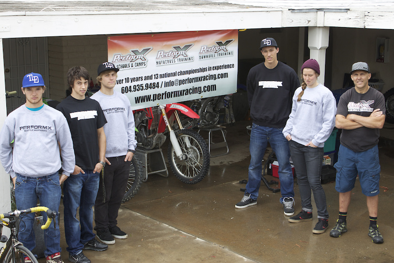 PerformX athletes from left Shawn Maffenbeier top Canadian MX pro Tyler Alison Remi Gauvin PerformX DH Team rider Kyle Sanger PerformX DH Team rider Miranda Miller and PerformX owner Todd Schumlick