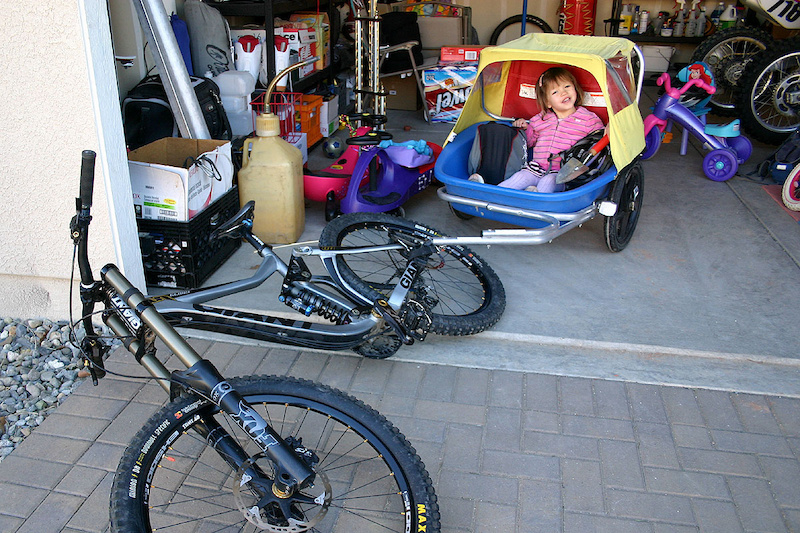 Your downhill bike will find new uses after you have kids.