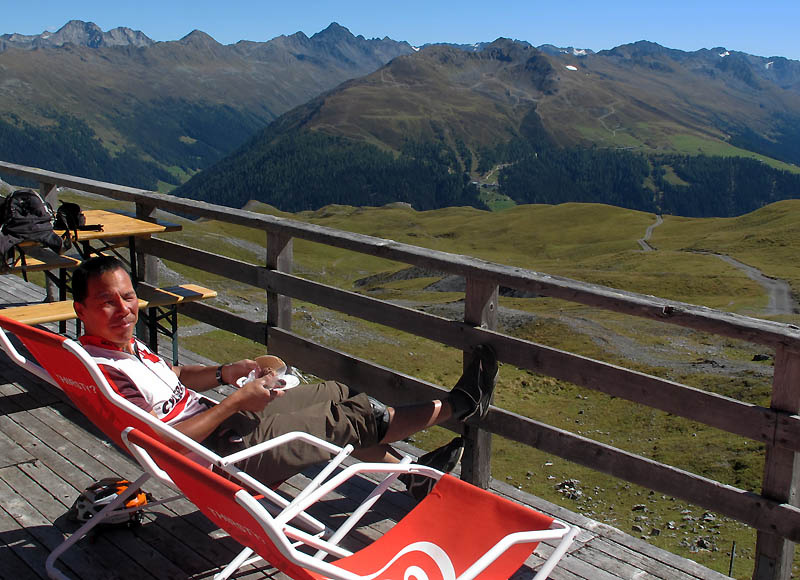Three scoops of icecream on a sunny warm day at 2600m at the Strela Pass Hutte