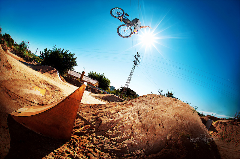 Szymon Godziek with his new Cody making frontflip nohander at La Poma bikepark during his trip to Barcelona. Photo by Kuba Konwent - http konwent.fotolog.pl .