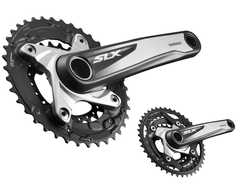 The 2013 SLX group s low-geared 38 x 24 two-by crankset is good news for long-travel trail riders and 29ers. Two-by options are 38 x 24 38 x 26 and 40 x 28. Shimano s DynaSys close-ratio 42 32 24 triple is the default crankset.