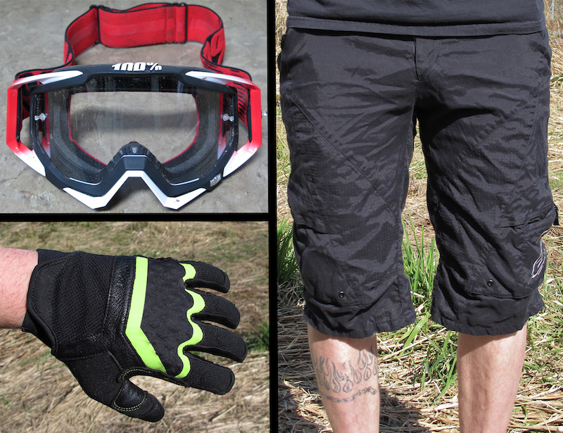 100% Racecraft goggle, Alpinestars Manual short, MEC The Don gloves